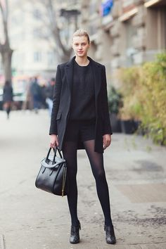 My favorite model, Sigrid Agren looks Chic in head to toe Black at Fall 2013 Milan Fashion Week