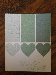Three Shades of Teal With Love Handmade Greeting Card $3.75 https://www.etsy.com/listing/151810853/handmade-paper-any-occasion-greeting?ref=shop_home_active_2