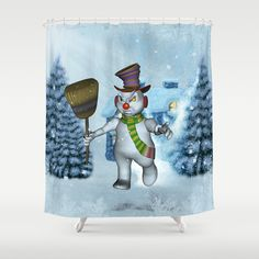 Funny grimly snowman Shower Curtain by