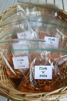 What camping adventure would be complete without a some fresh fish off the rod? No worries if anyone is allergic to seafood. Randi from Dukes & Duchesses created this fun Fish 'n' Rods snack for little birthday guests to enjoy at a camping-inspired party. Retirement Parties, First Birthday Parties, Boy Birthday, First Birthdays, Birthday Ideas, Camp Birthday Party, Country Birthday, Princess Birthday, Camping Parties