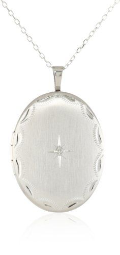 Momento Lockets Sterling Silver 0.01Ct Oval Shaped Locket Diamond Necklace