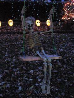 From Halloween on Auburndale St.: Little Skeleton on a swing!