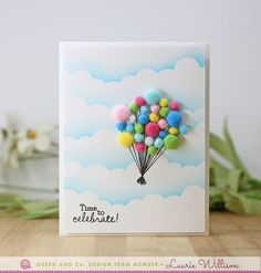 Fly Away With A Pom Balloon Bouquet Card Birthday Bash Kit Queen And Company Laurie Willison