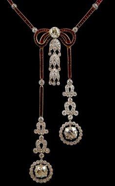 Edwardian Ruby and Diamond Necklace