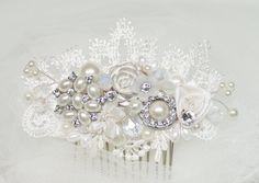 Wedding hair accessories Pearl and Rhinestone by BrassBoheme, $59.00