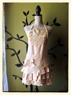 Vintage Princess Linen & Lace Apron Pink