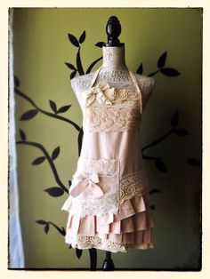 Vintage Princess Linen & Lace Apron Pink by LovedbyPaperplaneC, $85.00