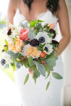 garden rose and anemone bouquet by Sinclair and Moore Events