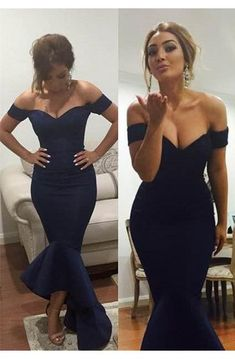 Off-Shoulder dark navy blue prom dresses short sleeves hi-lo mermaid sexy evening gowns [item code: Navy Blue Prom Dresses, Evening Dresses Plus Size, Elegant Prom Dresses, Mermaid Evening Dresses, Prom Party Dresses, Occasion Dresses, Sexy Dresses, Evening Gowns, Beautiful Dresses