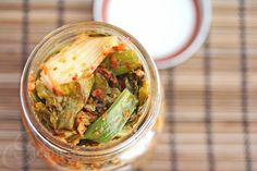 Kale Kimchi Recipe - Jeanette's Healthy Living - Being that it's kale, the texture is chewier, maybe try a different mustard green? A kimchi düa? Kale Recipes, Raw Food Recipes, Food Network Recipes, Asian Recipes, Food Processor Recipes, Healthy Recipes, Ethnic Recipes, Asian Foods, Canning Recipes