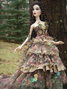 Gorgeous silk and lace peacock dress for Evangeline Ghastly resin or hard plastic doll.