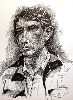A young man. Pen & ink by Tom Webber. While the left eye is somewhat misplaced, I decided to proceed with this drawing rather than start over. It seemed to me that the slight distortion, in this case, actually helped me convey the rather intense character of this young fellow who posed or me.