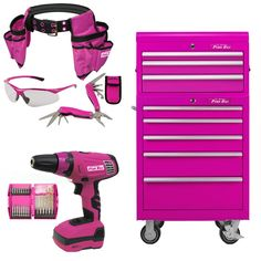 The Original Pink Box Pink Tool Box, Cordless Impact Drill, Tool Cart, Tools For Women, Unique Shelves, Engagement Cakes, Pink Power, Everything Pink, Shopping
