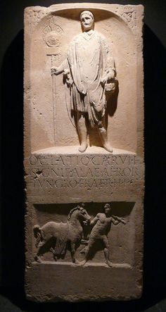 Tombstone of Oclatius - auxilia soldier who was standard bearer. He belonged to Tungri tribe (Belgic part of Gaul). Object found in Novaesium (current Neuss in Germany). Dated back to I/II AD [479x900]