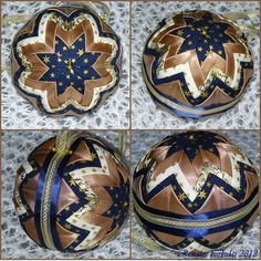 Blue gold quilted ornament - Renata St