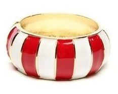 This Red Stripe Moma Hinge Bangle is perfect! Fashion Bracelets, Cuff Bracelets, Bangles, Fashion Jewelry, Red And White Stripes, Blue And White, Brass Jewelry, Jewelery, Big Jewelry