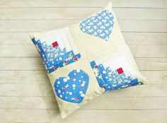 Pillow case patchwork bunny heart log cabin quilted nursery decorative throw blue white off-white red baby kid home decor cotton small gift