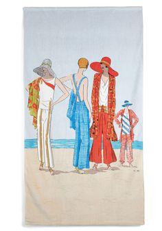 Sand My Regards Beach Towel in 1929 - Cotton, Multi, Vintage Inspired, Beach/Resort, 20s