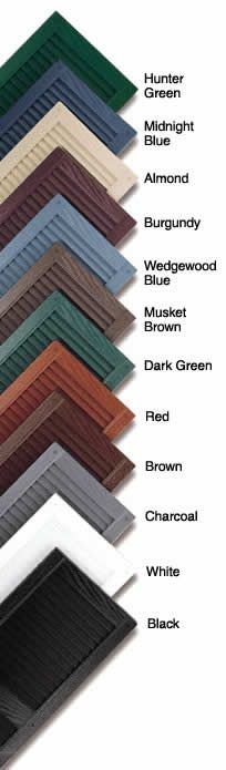Plastic shutter colors