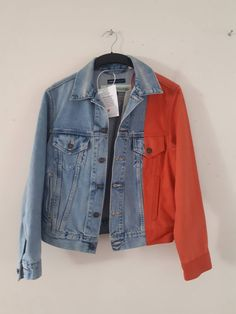 Off-white Off-white X Levi's Made & Crafted Red Denim Jacket Red Denim Jacket, Painted Denim Jacket, Off White Jean Jacket, Men's Denim, Denim Jackets, Jean Jacket Design, Customised Denim Jacket, Off White Clothing, Custom Clothes