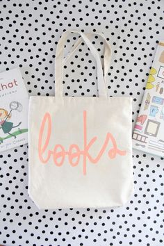 c2a826c5873a DIY Library Tote (Free word  Book  template