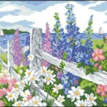 ru / Photo # 6 - flowers by the fence - jkbz Embroidery Patterns, Cross Stitch Patterns, Cross Stitch Landscape, Cross Stitch Flowers, Bead Art, Animal Kingdom, Scenery, Diagram, 1