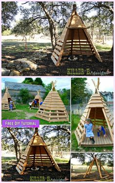 Outdoor Furniture Pallet DIY Pallet Teepee Playhouse Tutorial for Kids - These Teepee Playhouses are simple to create at low cost, and can help encourage your little ones to have fun playing in the garden or backyard for fun in coming days. Kids Indoor Playhouse, Pallet Playhouse, Build A Playhouse, Backyard Playhouse, Pallet Patio, Pallet House, Outdoor Pallet, Pallet Tree Houses, Toddler Playhouse