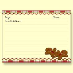 Man Recipe, Recipe Cards, Gingerbread Recipe, Gingers, Gingerbread Man