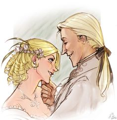 Lord Lucius Malfoy and Lady Narcissa Malfoy at their wedding.