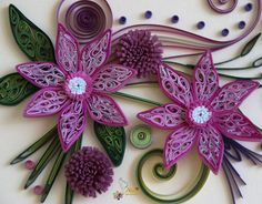 Part 2 of 2---neli: Quilling card - purple flowers