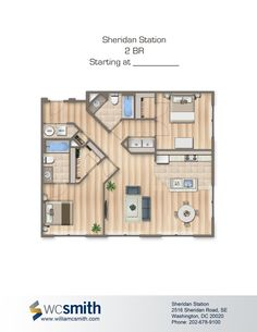Two Bedroom Floor Plan | Sheridan Station in Southeast Washington DC | WC Smith #Apartments | Anacostia #Rentals