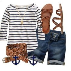 Love the boatneck stripes and sandals. Would pair with non-denim shorts.