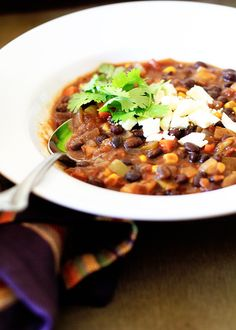 Black Bean and Sweet Potato Soup and more healthy black bean recipes on MyNaturalFamily.com #recipes