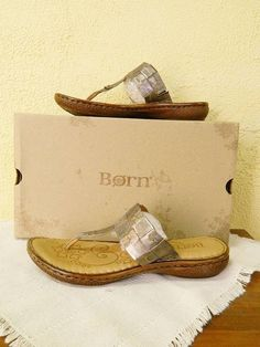 Born Cari Leather Woven Thong Sandals 11/43 Pewter Metallic Summer Party Cute#Born#Summer#Fun