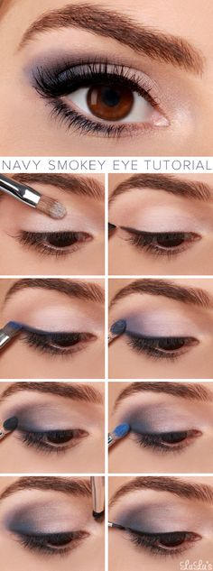 Navy Smokey Eye Makeup Tutorial - 8 Silver Eye Makeup Tutorials | GleamItUp
