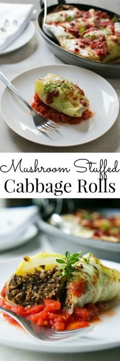 A flavor packed meal these Mushroom Stuffed Cabbage Rolls are. A flavor packed meal these Mushroom Stuffed Cabbage Rolls are pure comfort for the coldest months of the year. Veggie Dishes, Veggie Recipes, Whole Food Recipes, Vegetarian Recipes, Cooking Recipes, Healthy Recipes, Healthy Dishes, Vegan Dinners, Thanksgiving Recipes