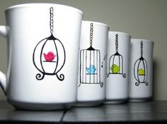 cute painted mugs