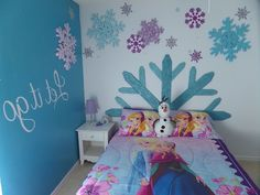 Bedroom , Bring Cold Impression Into Your Little Girls Bedroom by Applying Frozen Themed Decoration for The Wall and Furniture : Beautiful Minimalist Frozen Bedroom With Soft Blue Wall Paint With Snowflake Wall Decor As Well As Frozen Themed Bed Case And Pillow Case