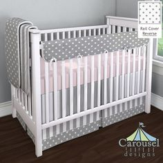 Crib bedding in Solid Pink, White and Gray Stripe, Gray and White Polka Dot, Solid Antique White, White and Gray Polka Dot. Created using the Nursery Designer® by Carousel Designs where you mix and match from hundreds of fabrics to create your own unique baby bedding. #carouseldesigns