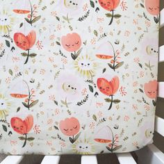 Crib Sheet. Girl Crib Sheets. Floral Fitted Sheet. by maxandgrace