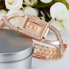 $25.20 KINGSKY Wristwatch HIgh Quality CZ Crystall Alloy Band Watch Fashion Rectangle Analog Japanese Quartz for Girl Watches #Wristwatch #Crystall# Watch #Fashion #Rectangle #Quartz #Watches