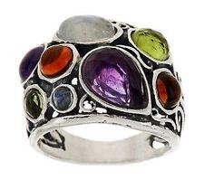 Or Paz   Sterling Gemstone Ring amethyst,citrine,rainbow moonstone