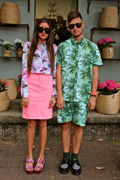 CR-VISION ON STREET FASHION #tropical #pink #print combi's  www.cr-vision.nl