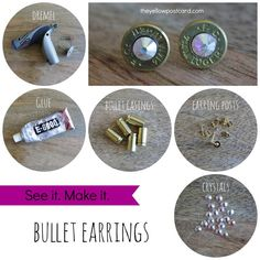 How to make your own shell casing earrings Empty Brass Shells, Bullet Shell Casings, Empty Ammo Casi Shotgun Shell Crafts, Shotgun Shell Jewelry, Ammo Jewelry, Jewelry Crafts, Jewelry Art, Handmade Jewelry, Gothic Jewelry, Shotgun Shells, Jewelry Necklaces