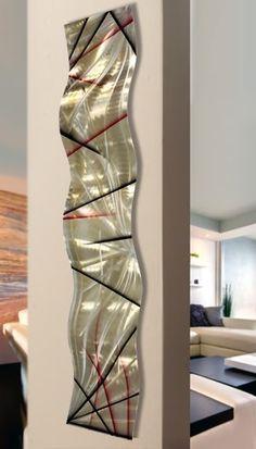 Modern Metal Wall Art - Contemporary Home Decor - Abstract Metal Wall Accent - Wall Hanging - Artwork - Meteor Eclipse Wave by Jon Allen Modern Metal Wall Art, Abstract Metal Wall Art, Metal Art, Modern Art, Abstract Art, Contemporary Sculpture, Contemporary Home Decor, Wave Art, Large Wall Art