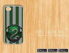 Iphone 4 - Iphone 4s - Iphone 5 - White - Harry Potter -Slytherin Green and Black V2 - Protective Case - Hard Case. $8.99, via Etsy.