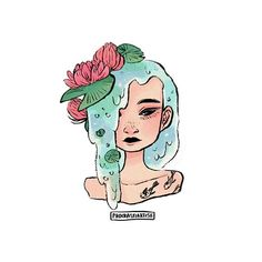 l i l y p o n d ••• #illustration #art #drawing #girl #waterlily #koi #tattoo