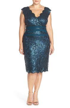 Tadashi Shoji Embellished Metallic Lace Sheath Dress (Plus Size) available at #Nordstrom