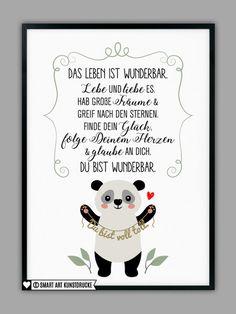 "Original print - ""PANDA"" art print, gift - a designer product by Smart-Art -. Original print – ""PANDA"" art print, gift – a unique product by Smart-Art-Art Prints on DaWanda Diy Gifts For Mom, Easy Diy Gifts, Panda Art, Baby Co, Smart Art, Day Wishes, Kid Beds, Birthday Quotes, Hand Lettering"