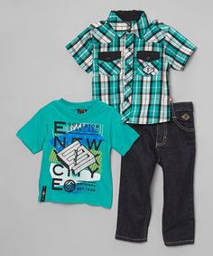 Loving this Teal Plaid Short-Sleeve Button-Up Set - Infant, Toddler & Boys on #zulily! #zulilyfinds
